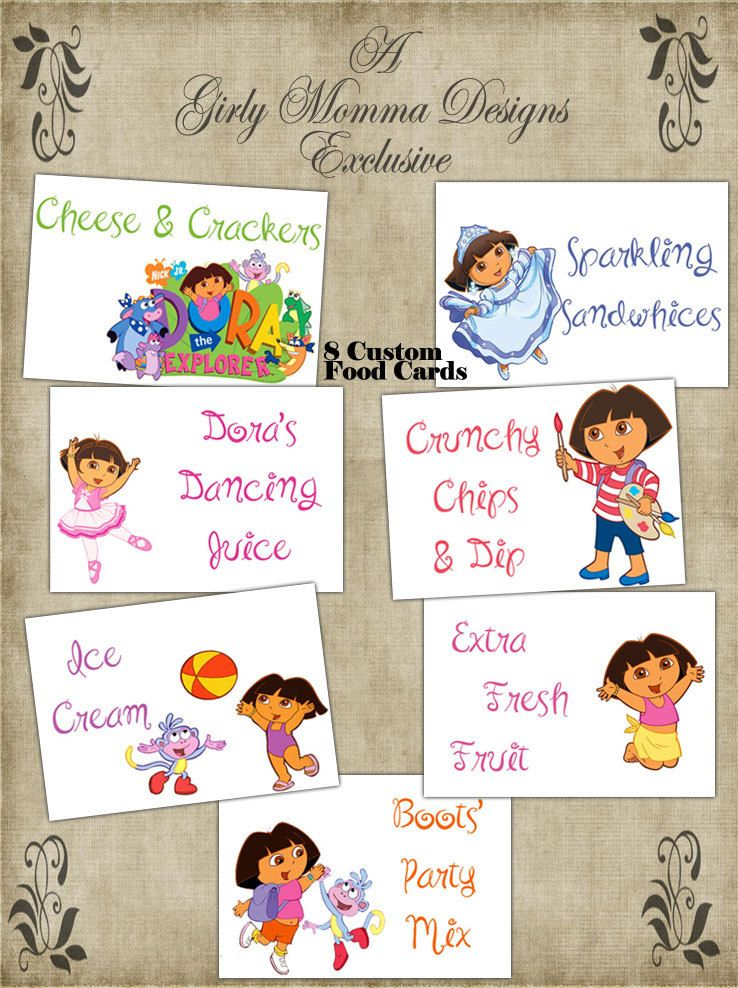 Food labels | Explorer birthday party, Girl bday party