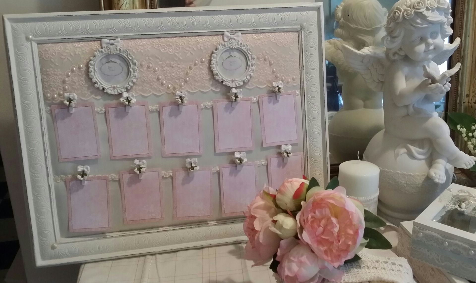 plan de table mariage blanc et rose poudr style shabby chic et romantique dans la collection. Black Bedroom Furniture Sets. Home Design Ideas