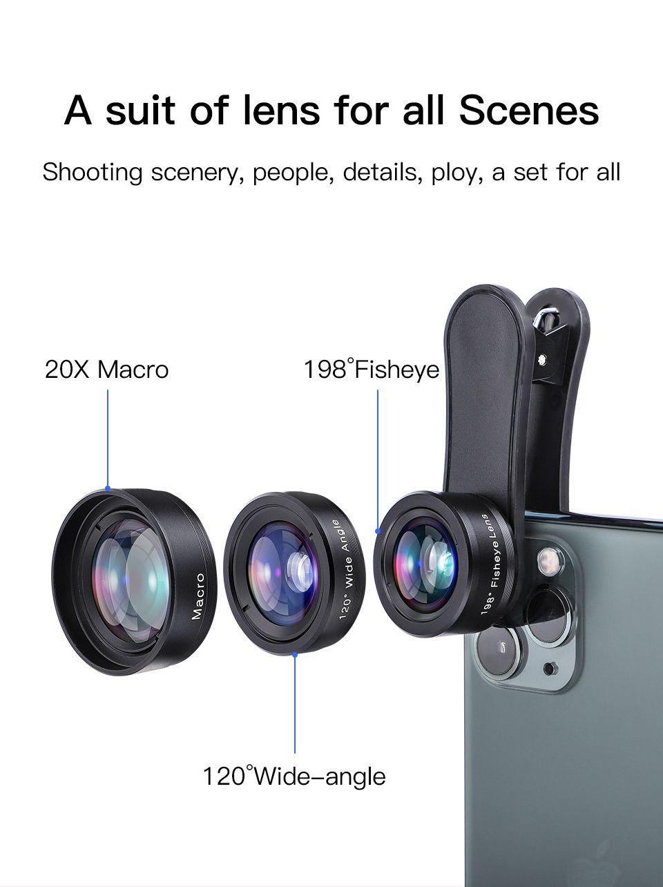 Kuulaa 3in1 4k hd wide angle lens macro fisheye lenses