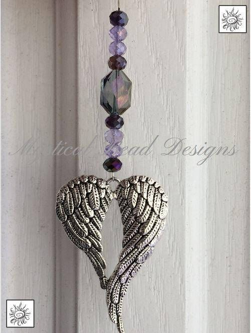 Iridescent Amethyst and Purple Glass Heart with Silvery Angel Wings Ceiling Fan Pull Chain