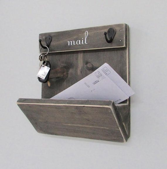 Mail Holder, Mailbox, Mail, Mail Organizer, Key Hooks, Rustic, Letters,  Magazines, Reclaimed Wood, Farmhouse, Keys, Home Decor