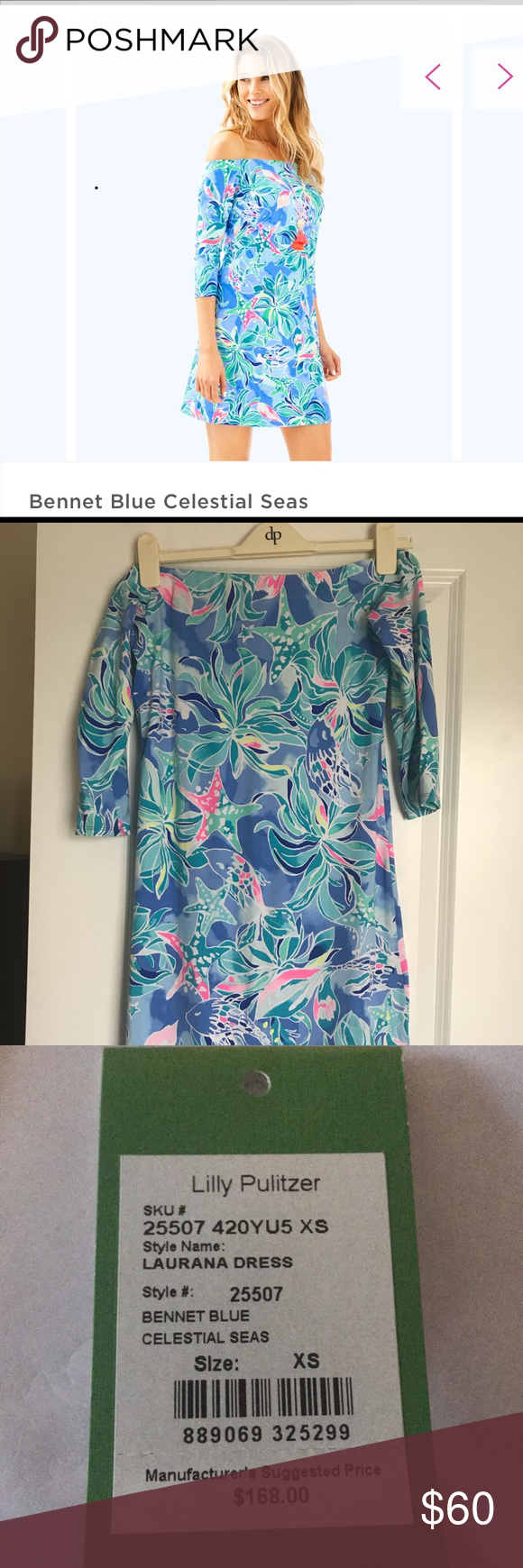 9cd4e6a102115c Lilly Pulitzer Laurana Dress Off the shoulder, straight fit dress with 3/4  slim sleeves. Bennet Blue Celestial Seas. Lilly Pulitzer Dresses Midi