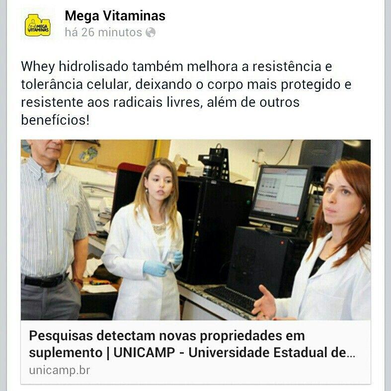 Confira o estudo sobre #Whey hidrolisado feito pela UNICAMP comprovando os benefícios do uso do suplemento na saúde. Acesse http://facebook.com/megavitaminas