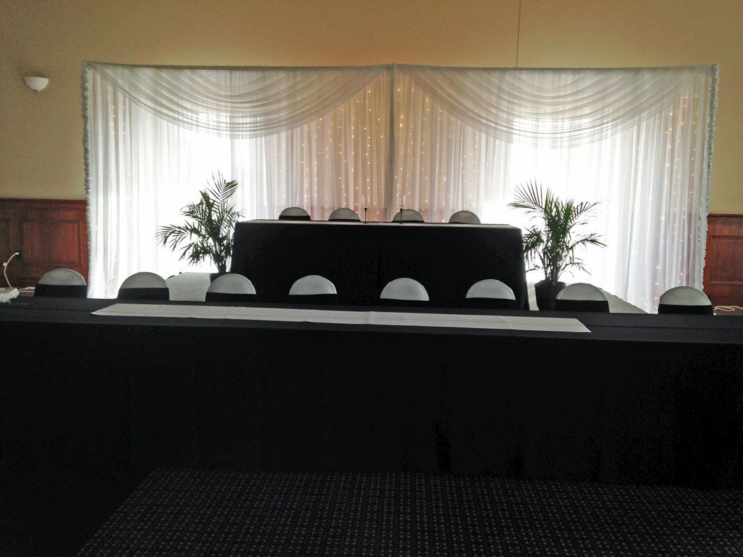 White Sheer Lighted Backdrop Also Available In Ivory Black By Beyond Elegance Wedding Backdrop Rentals Wedding Backdrop Backdrops