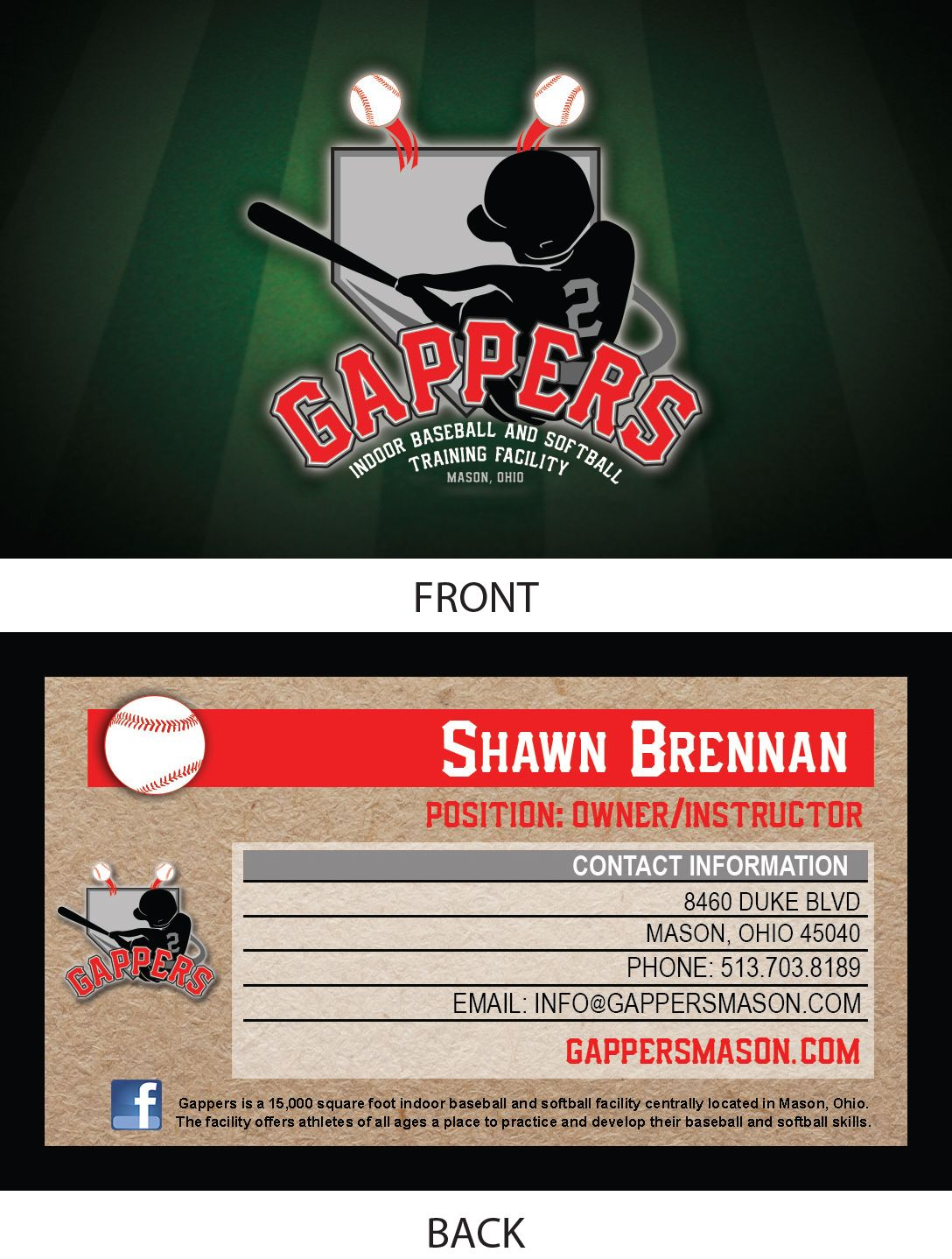 Business Cards This One Was For An Indoor Baseball Training