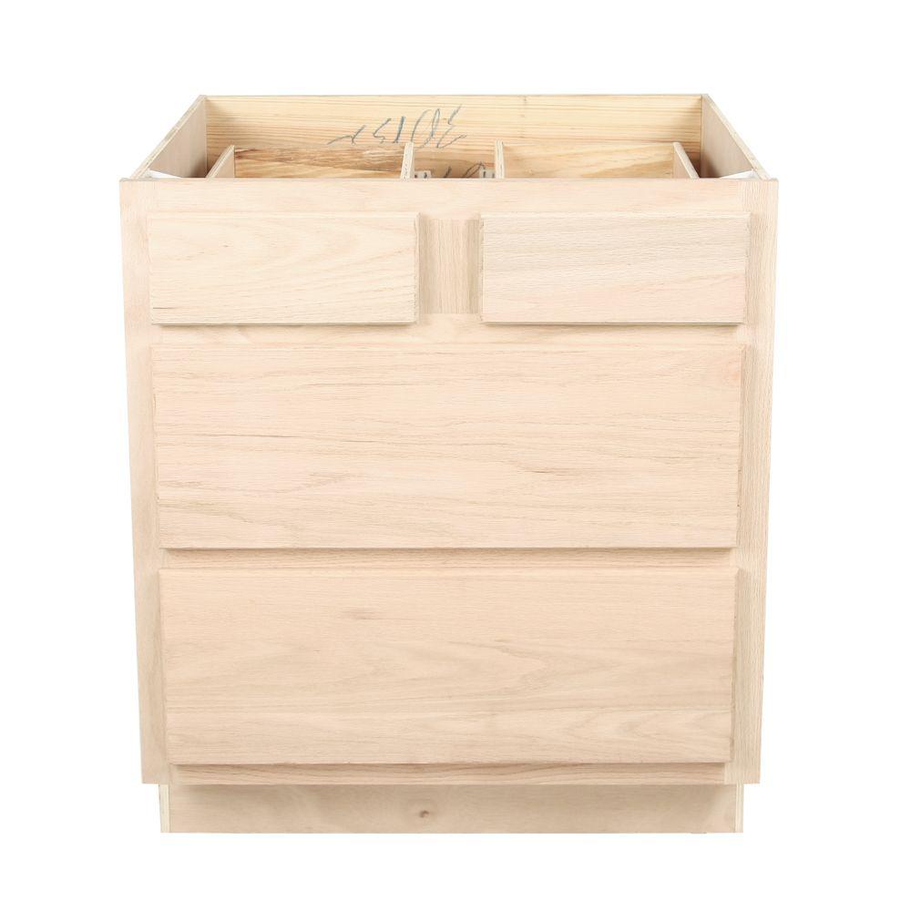 Kitchen Drawer Base Cabinet | Unfinished Oak | 30 ...
