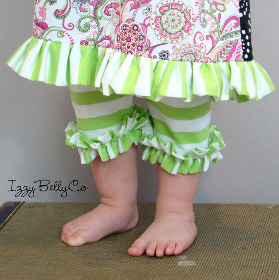 Girls Limeade Stripy Ruffle Shorties by IzzyBellyCo 6/9m, 12/18m, 2t, 3t, 4t, 5, 6