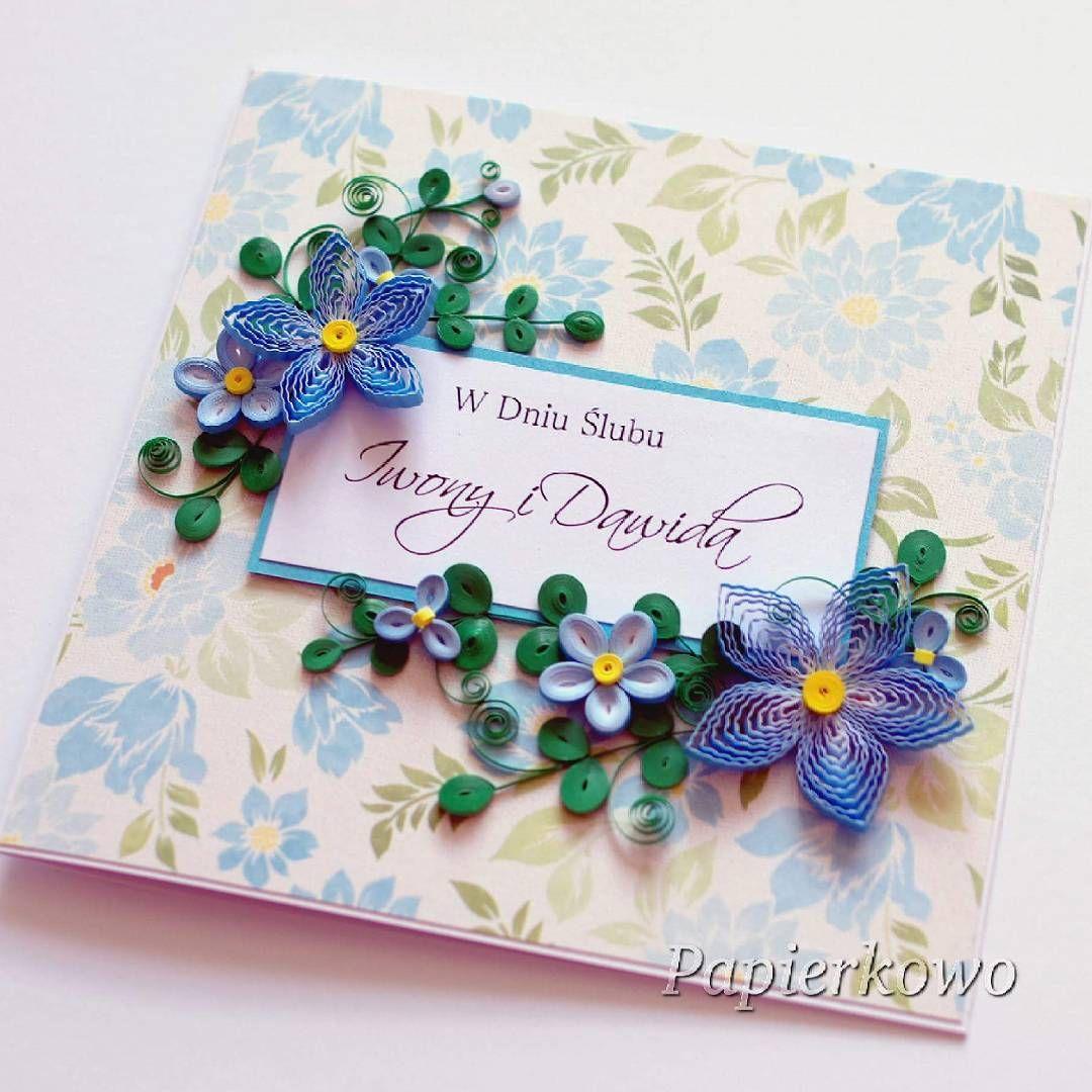 Kartka ślubna W Niebieskich Kolorach Quilling Quillingflowers