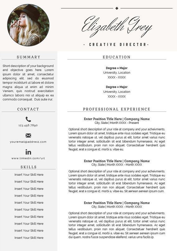 FLASH SALE Professional Resume Template Two Page Resume En-cas - 2 page resume template