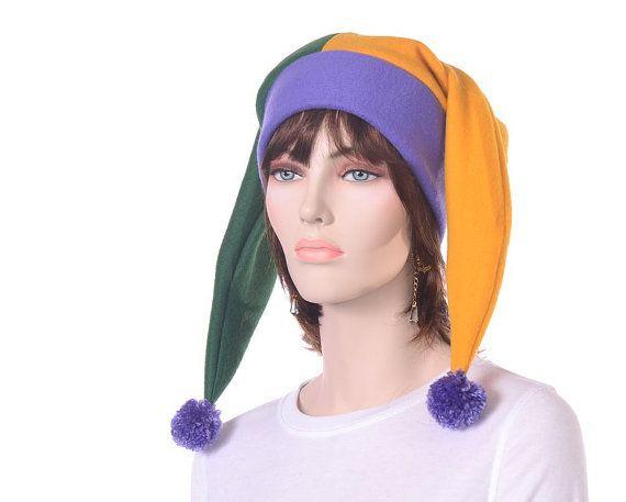 Purple Green Gold Harlequin Jester Hat Mardi Gras by MountainGoth, $30.00