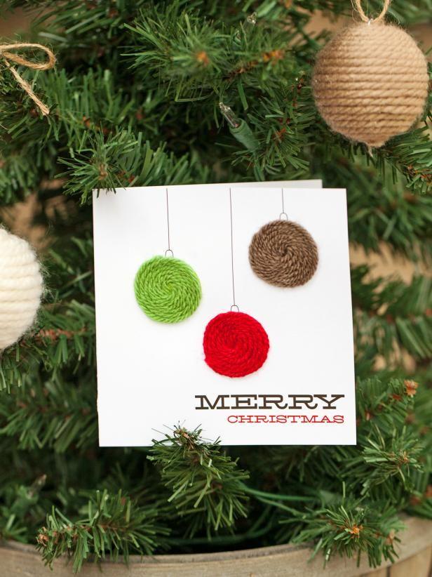 Yarn Embellished Holiday Ornament Card Christmas Cards Handmade Holiday Cards Handmade Diy Christmas Cards