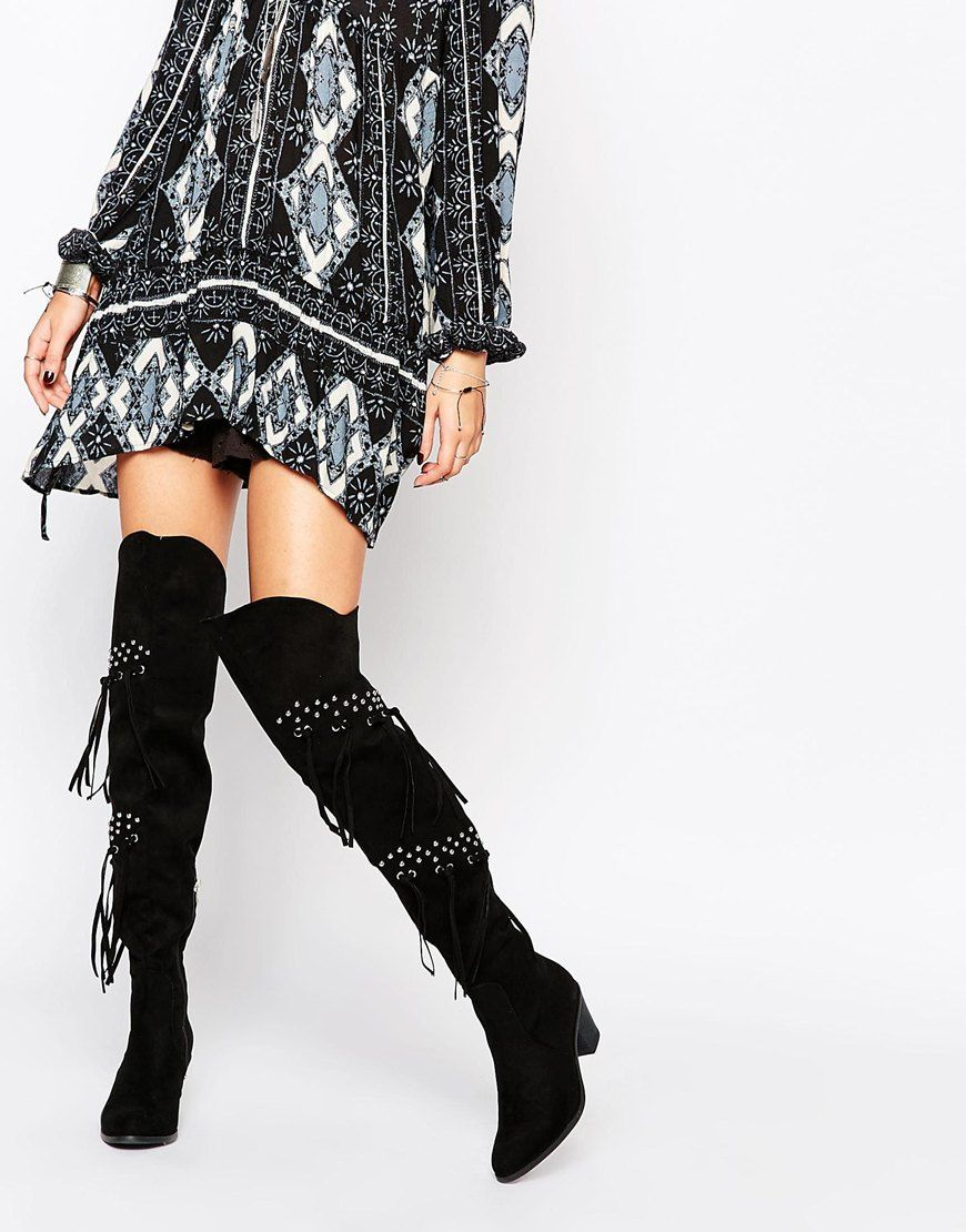 Image 1 of Glamorous Black Studded Fringed Over The Knee Boots ...