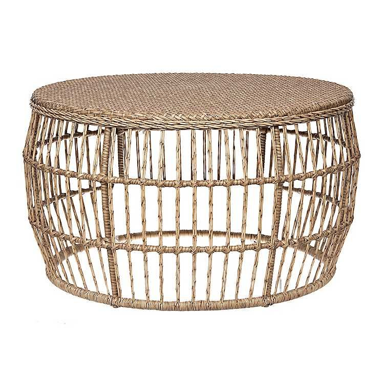 Natural Wicker Outdoor Coffee Table In 2020 Wicker Coffee Table