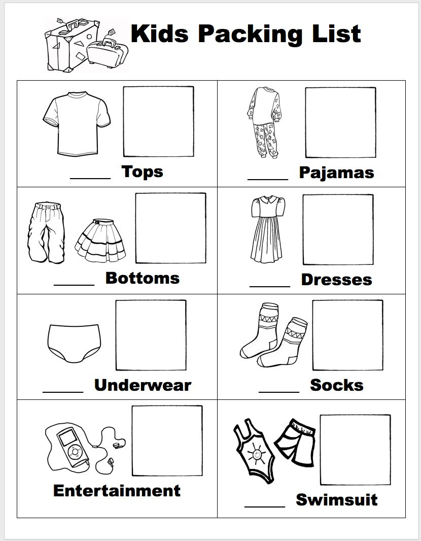 Free Printable Visual Packing List For Kids With Options To