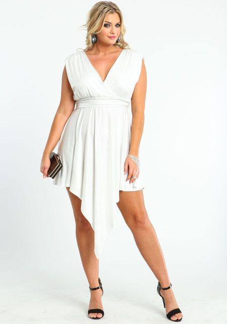 Plus Size Glitter Waterfall Dress, WHITE, large | Clothes ...