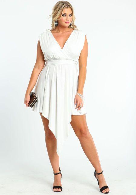 Plus Size Glitter Waterfall Dress, WHITE, large | Plus size ...