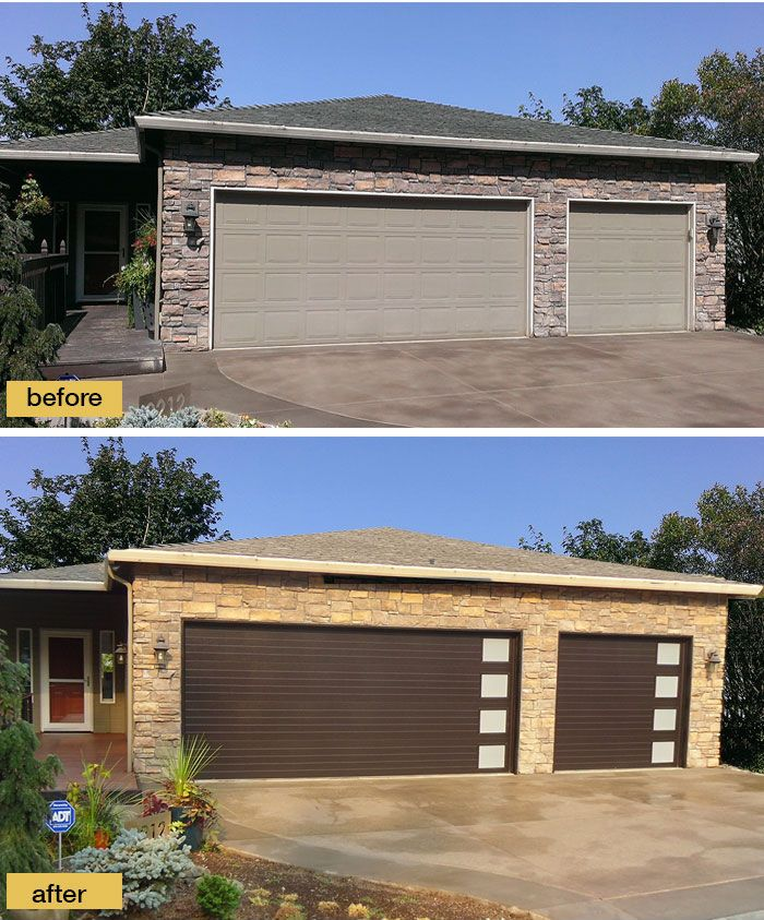 new garage doors from modern steel collection give this 90s ranch instant curb appeal
