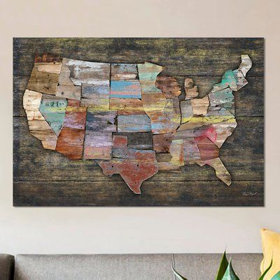 "East Urban Home 'USA Map I' Painting Print on Canvas Size: 12"" H x 18"" W x 0.75"" D"