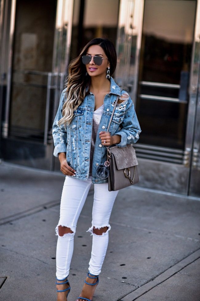 2d1837d336c fashion blogger mia mia mine wearing a denim studded jacket from topshop  and a chloe faye bag