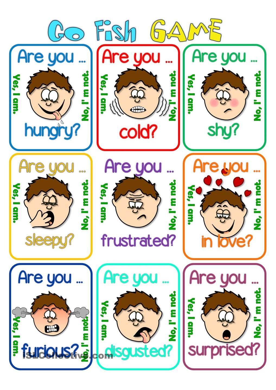 Go fish Feelings Teaching KIDS ESL Pinterest