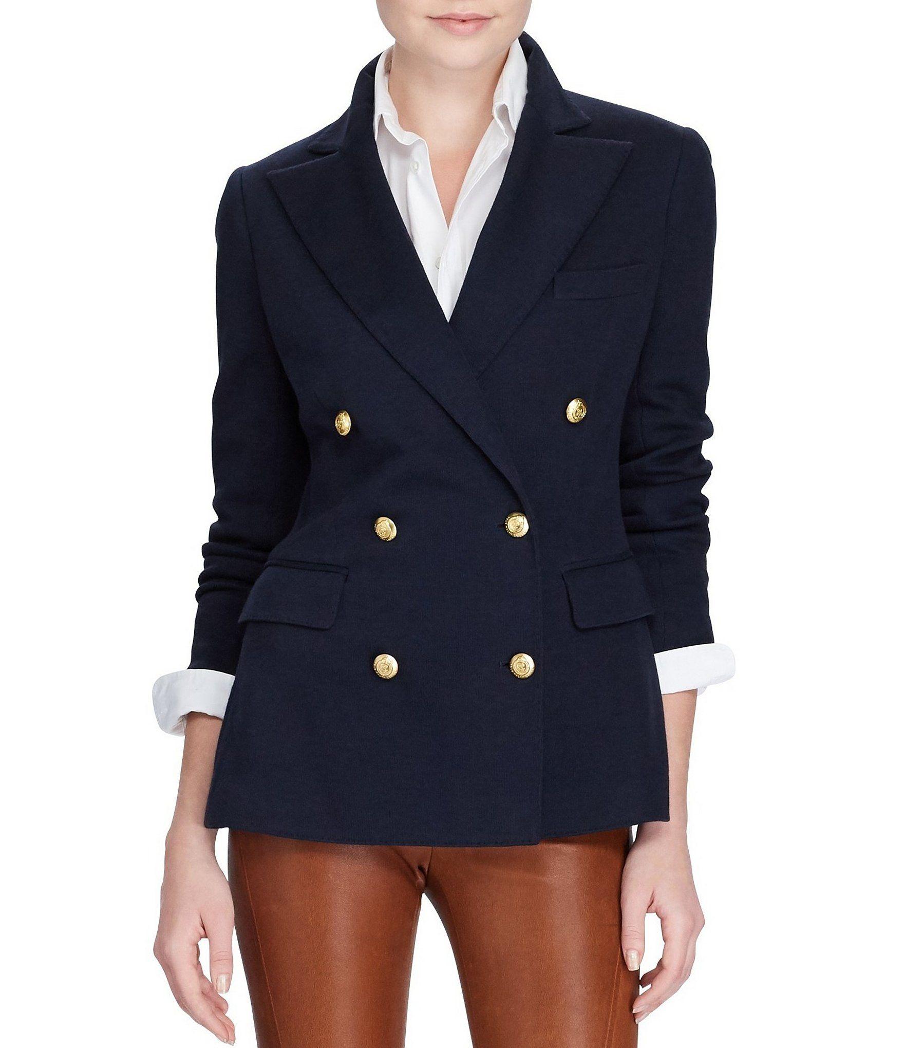 Polo Ralph Lauren Knit Double Breasted Blazer Dillards Blazer Jackets For Women Double Breasted Blazer Womens Fashion Blazer