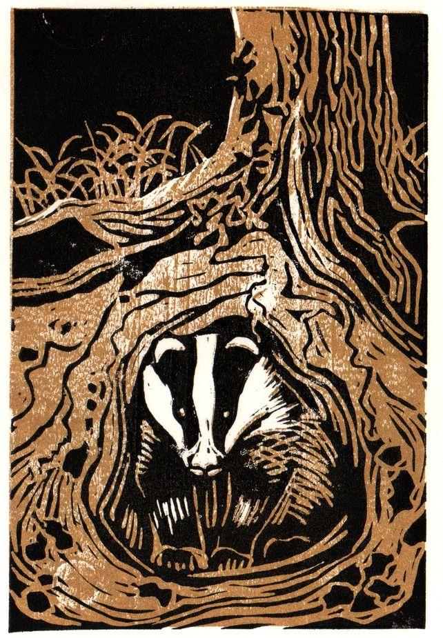 Brockhole in 2020 Linocut prints, Badger illustration, Art
