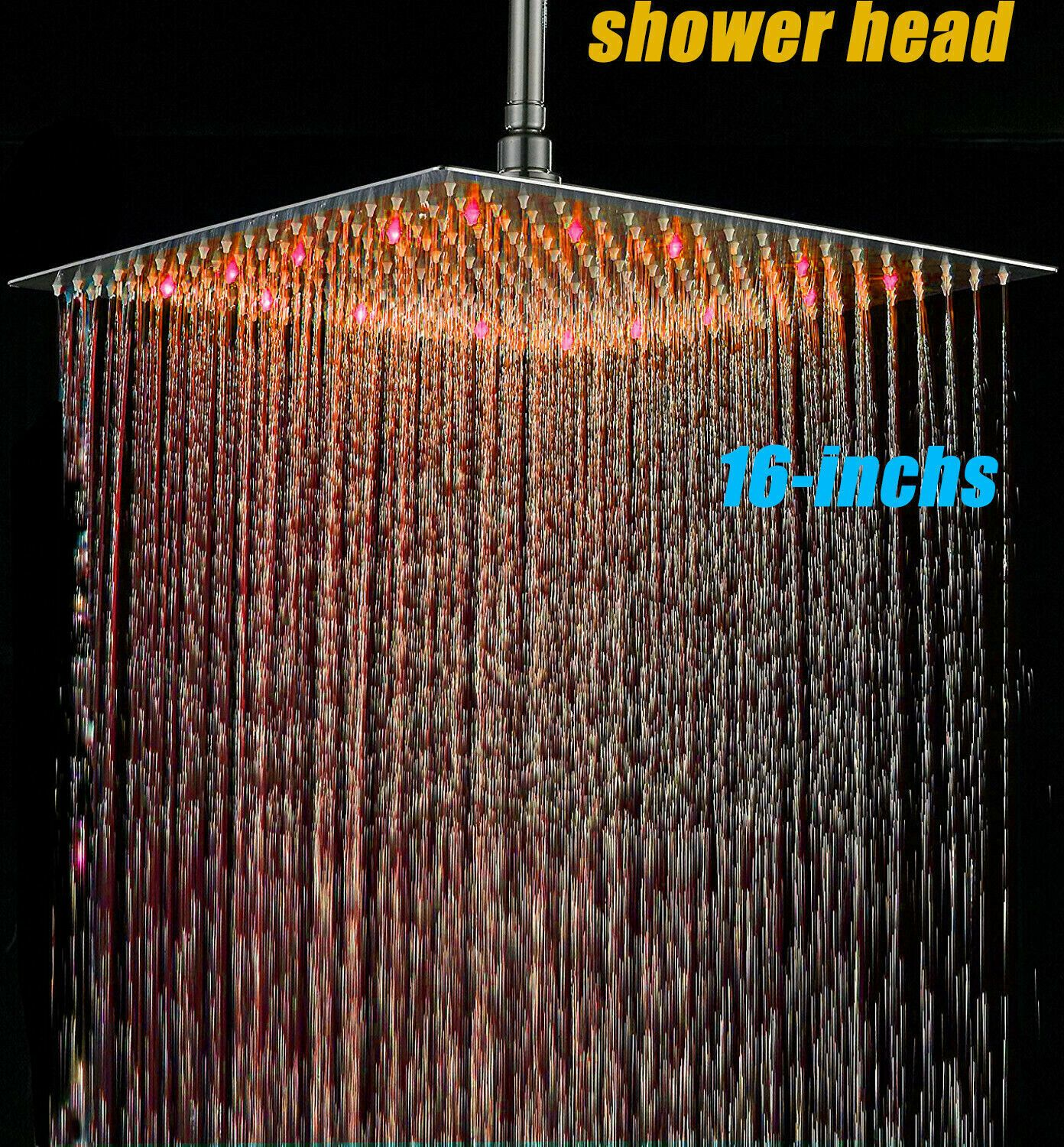 Led 16 Inch Rainfall Shower Head Wall Ceiling Mounted Top Over