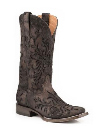 Black Laser Cut Metallic Vamp & Shaft Ladies Stetson Boot Boots Urban Western Wear
