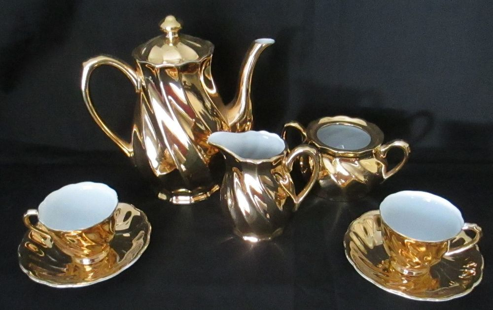 Avondale Gold Tea Set For 2 Made Australia Vintage Tea Set Porcelain Teapot Tea