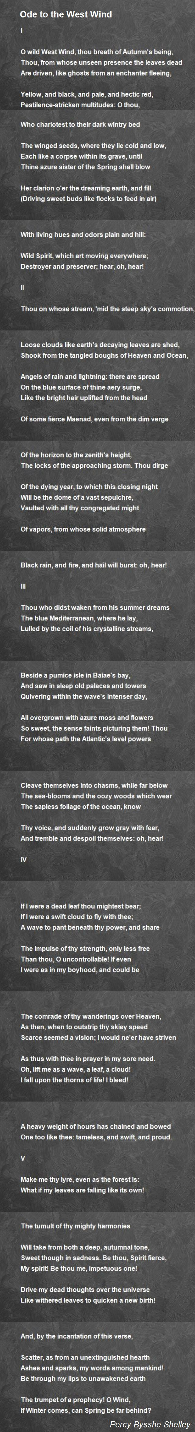 Ode To The West Wind Poem By Percy Bysshe Shelley Hunter Autumn Poetry Poetic Device Used In