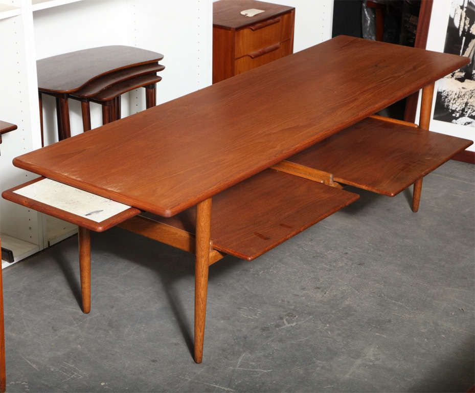 1950 S Teak And Oak Coffee Table With Pull Out Trays From A Unique Collection Of Antique And Modern Oak Coffee Table Coffee Table Coffee And Cocktail Tables