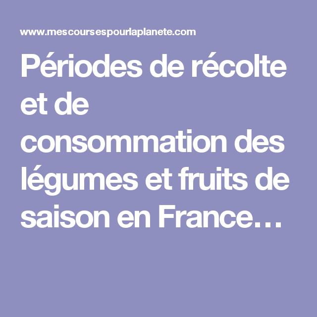 Périodes de récolte et de consommation des légumes et fruits de saison en France…