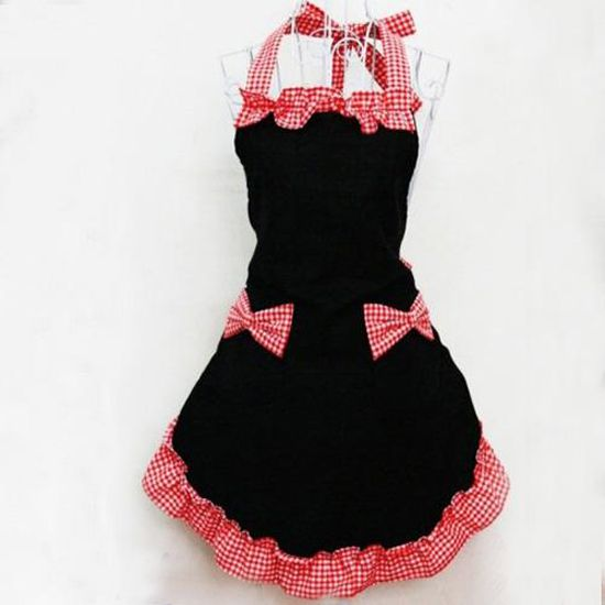 New Cute Vintage Flirty Womens ladies Bowknot Kitchen Bib Apron Dress with Pocket Cooking Aprons Gift  Red/Black US $12.59