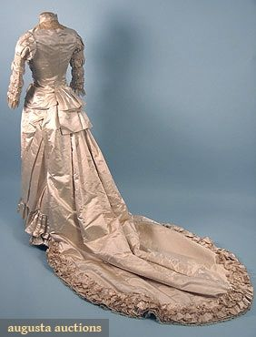 Trained Ivory Satin Wedding Gown, 1880s