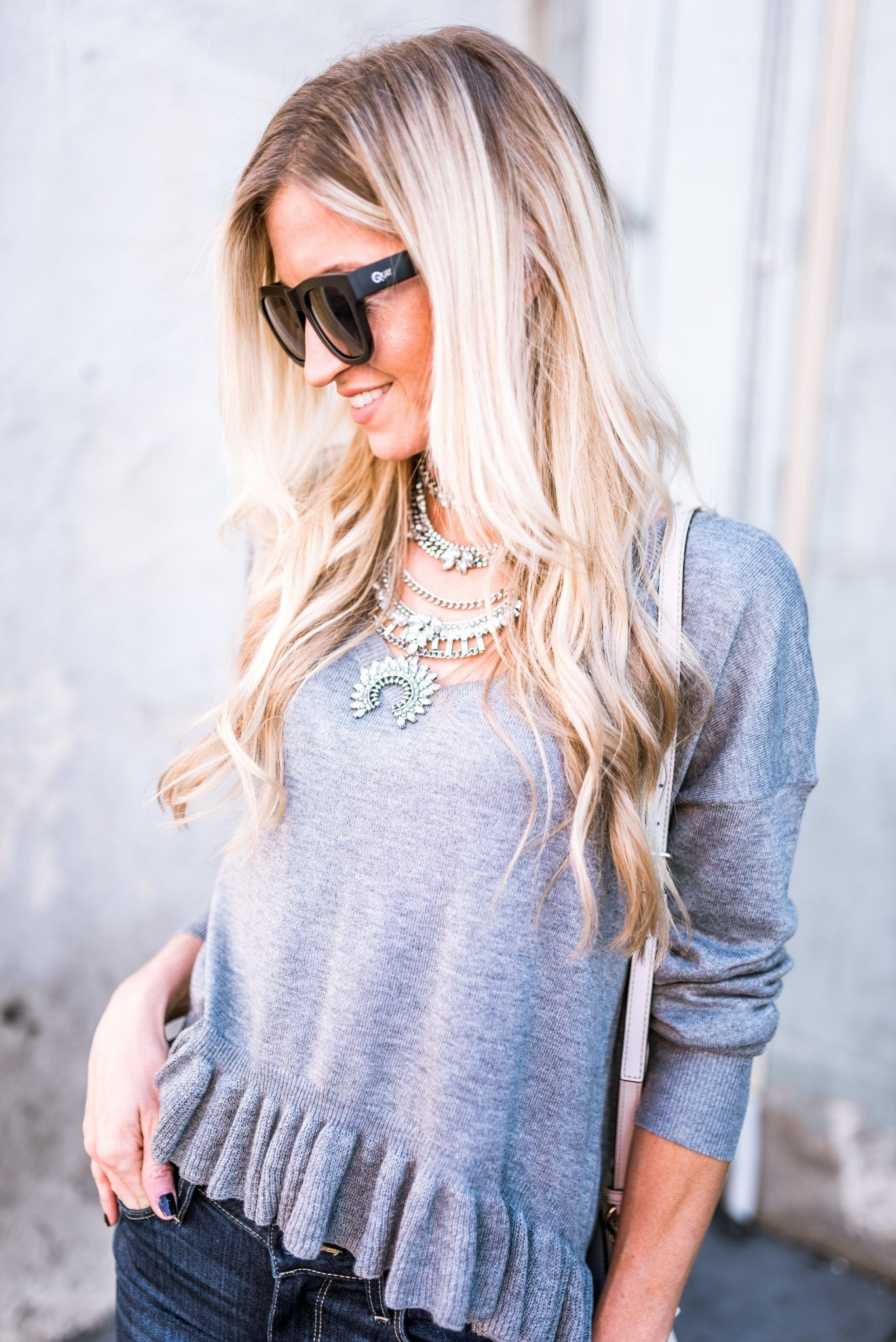 Ruffles + Silver Statement Necklace