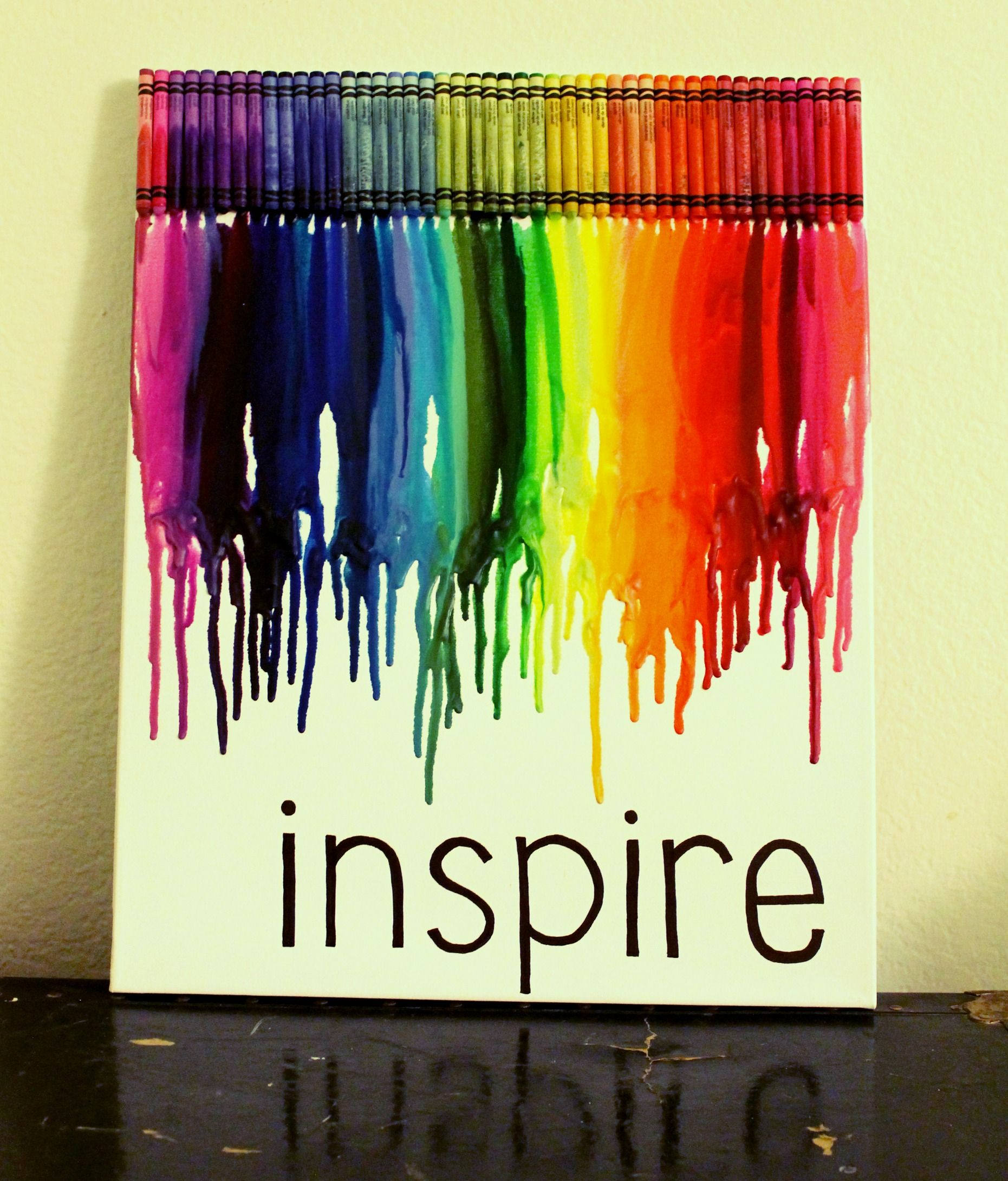 Crayon art for wall. Take off crayon wrapper or keep it on. Also ...