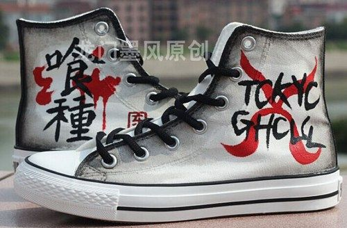 320b43a90a66 Anime Shoes Tokyo Ghoul Hand Painted On Converse Shoes in 2019