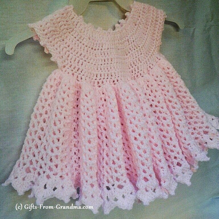Easy Crochet Baby Dress Pattern (Free) - Taking the next step in ...