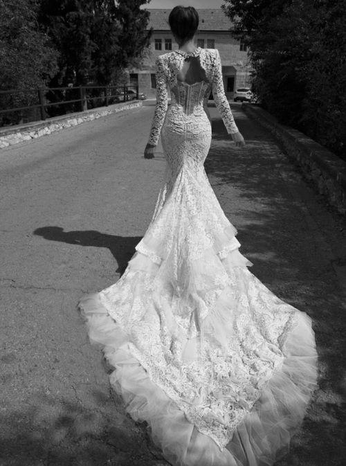 Custom Made Luxury Bridal 2013 lace mermaid wedding dress with ...