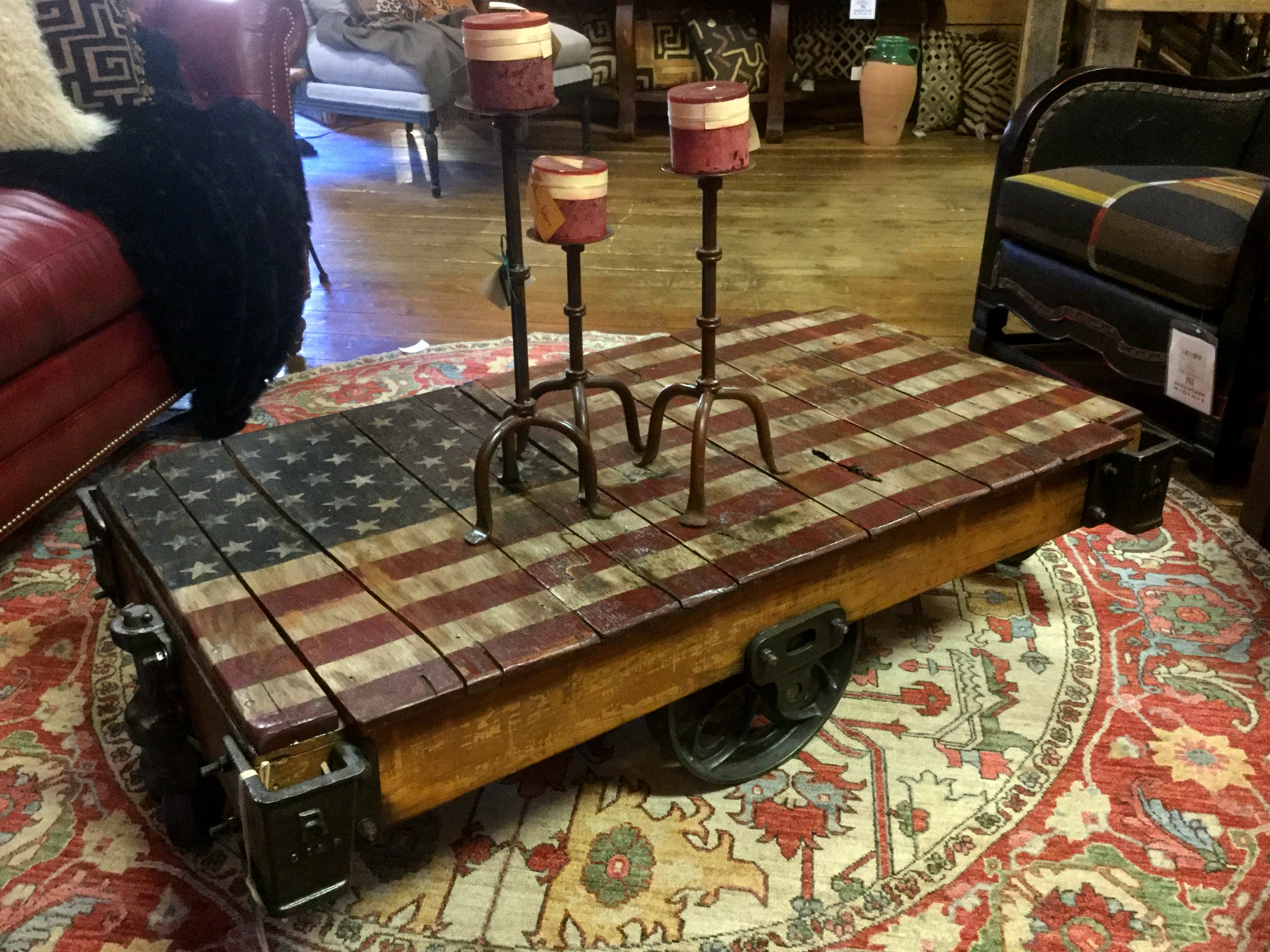 Show Your Patriotism With This Flag Themed Coffee Table Made From