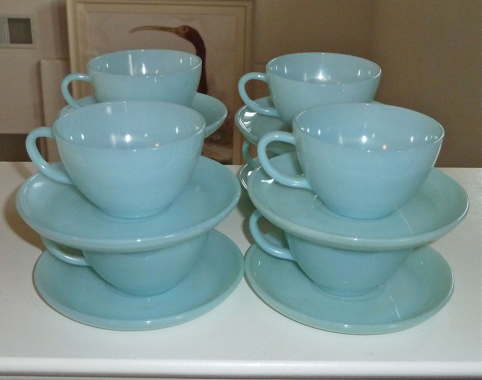 16 piece fire king turquoise blue coffee tea cup saucer sets