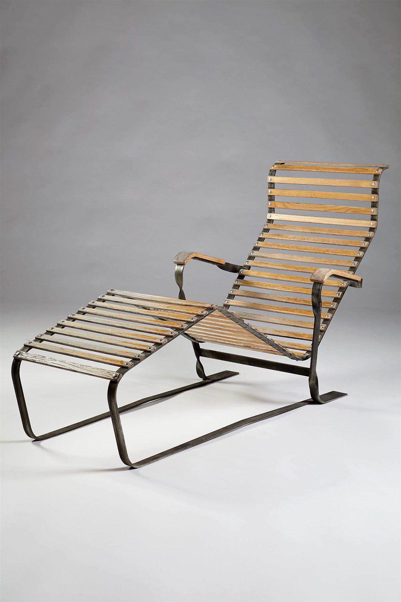Marcel Breuer Galvanized Steel Oak Chaise Lounge 1930s