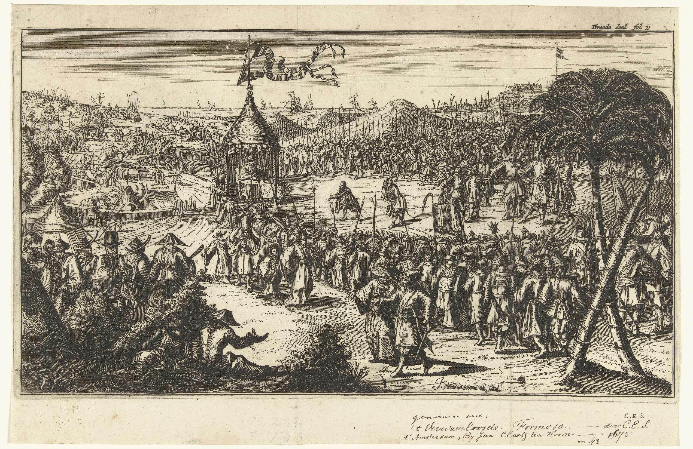 Johannes van Baden | Audiëntie bij een Chinese vorst, Johannes van Baden, 1675 | Een groep Europeanen op audiëntie bij een Chinese vorst. De gezaghebber zit aan tafel in een tent die is omgeven door zijn legers.