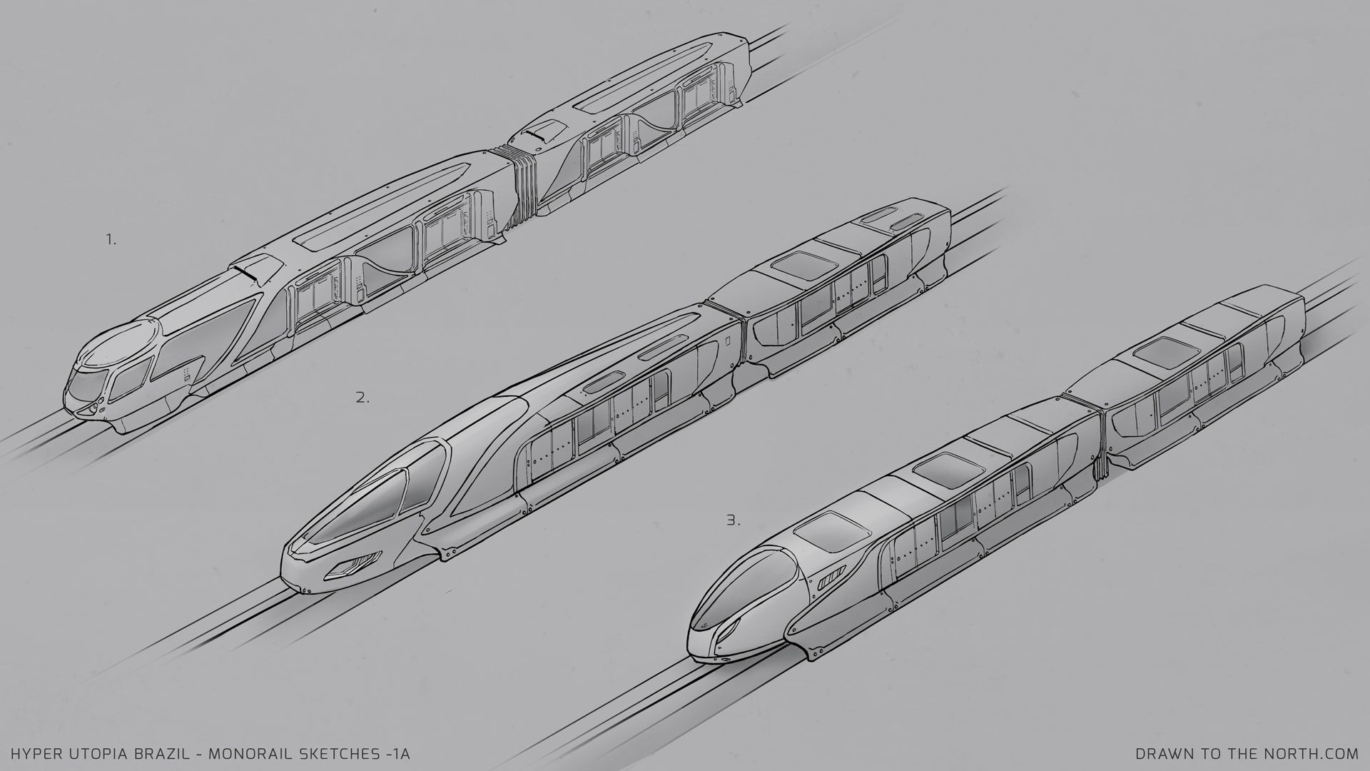 Here's some monorail design sketches for a personal project based in a Utopian city. #monorail #designsketch #vehicledesign #conceptdesign #propconceptart #filmconcept #propdesign