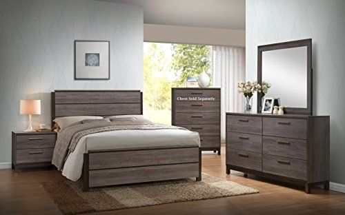 Ioana Antique Grey Finish Wood Bed Room Set, Queen Size Bed, Dresser ...