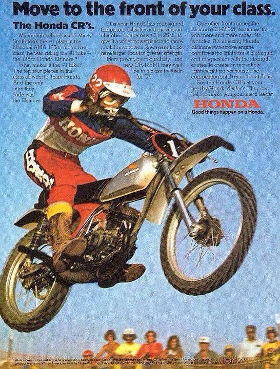 1974 Honda Cr Elsinore Vintage Dirt Bike Ad Vintage Motocross Motocross Bikes Vintage Honda Motorcycles