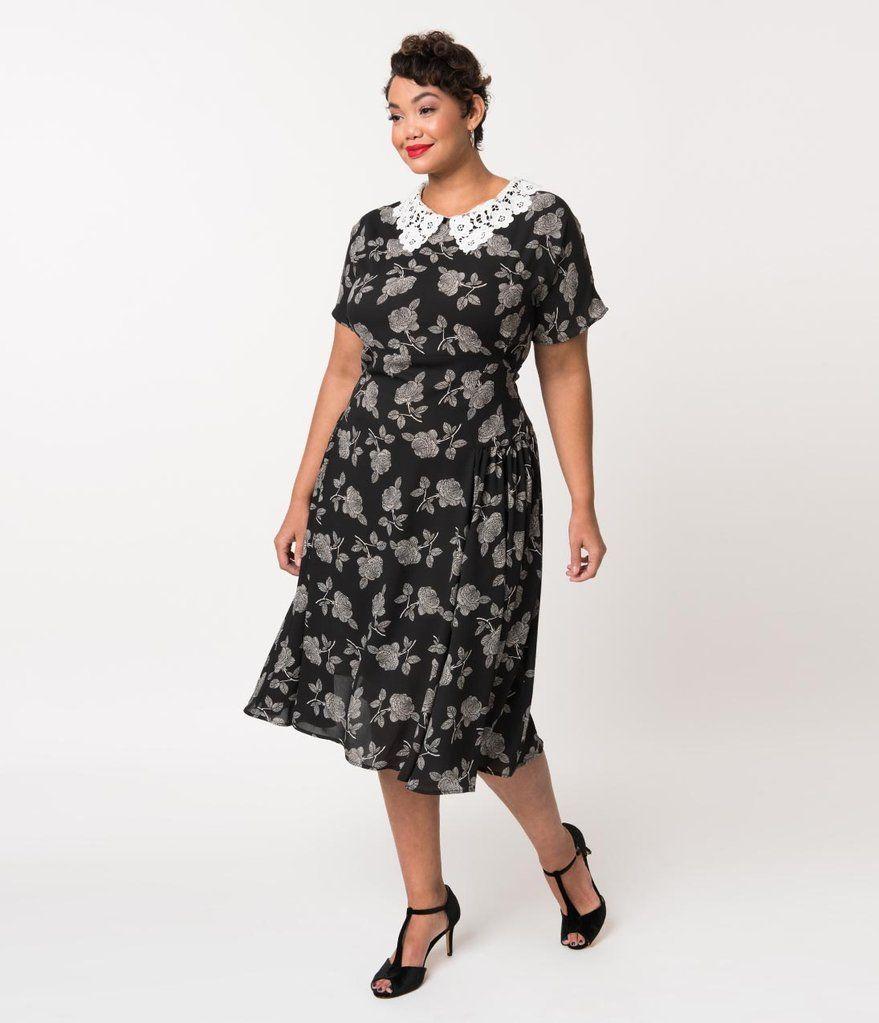 4d22160214a4b Unique Vintage Plus Size 1940s Black   White Floral Lace Collar Margie Dress