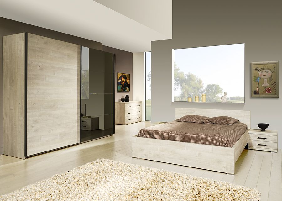 chambre compl te contemporaine marius coloris ch ne. Black Bedroom Furniture Sets. Home Design Ideas