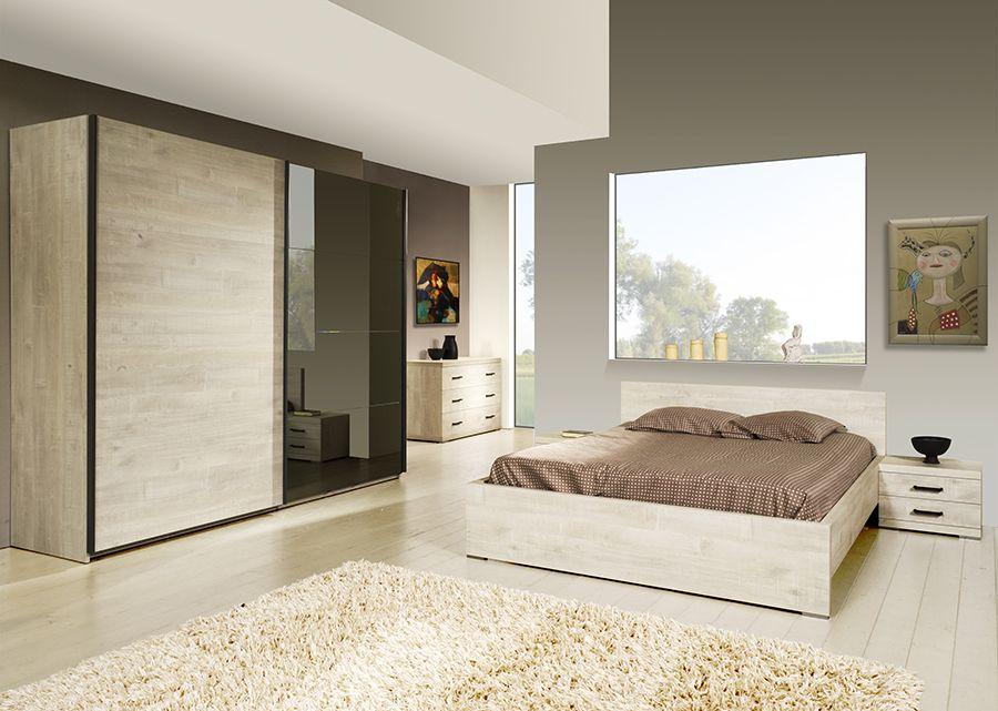 Chambre Complete Contemporaine Marius Coloris Chene Blanchi Chambres A Coucher Modernes Chambre A Coucher Chambre A Coucher Complete