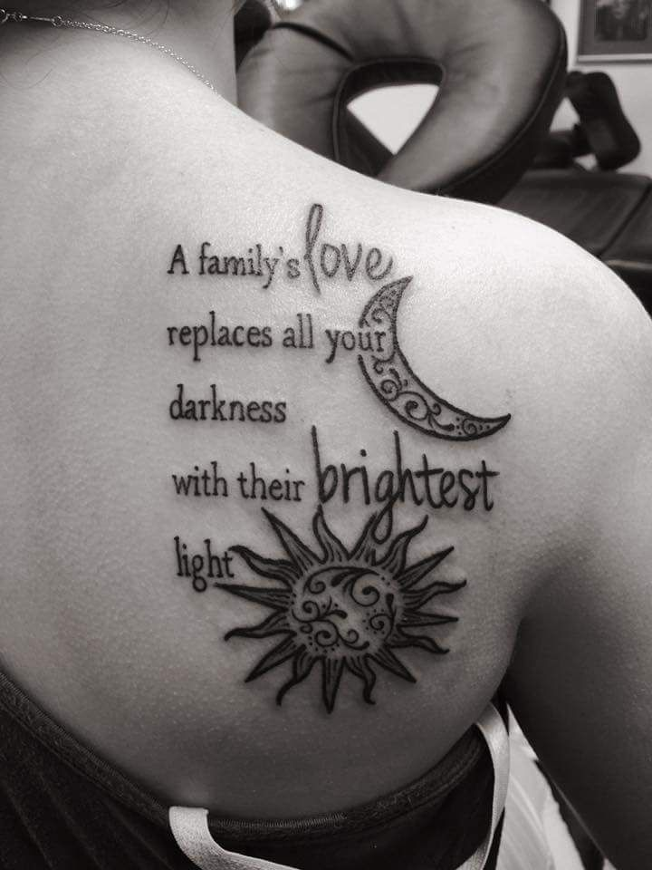 Most Loving Family Based Tattoo Idea For The Back Tattoo Quotes Meaningful Tattoos For Women Back Of Shoulder Tattoo